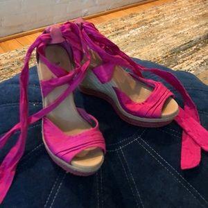 UGG hot pink wedge sandals
